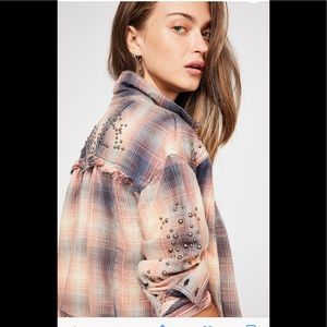 Free People Take On Me plaid studded blouse NWT
